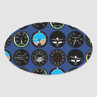 Flight Instruments Oval Sticker