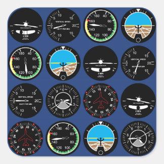 Flight Instruments Square Sticker