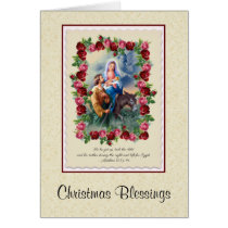 Flight into Egypt Roses Christmas Card