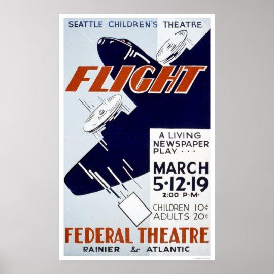 Flight Newspaper Play 1940 WPA Poster