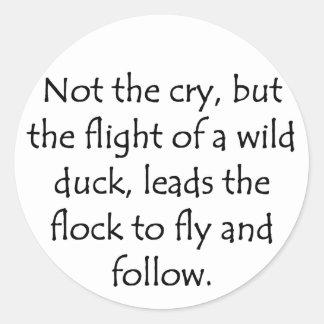 Flight of A Wild Duck Round Sticker