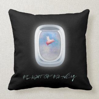 flight of fancy-pig flies past an airplane window throw pillow