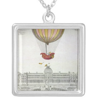 Flight of Jacques Charles  and Nicholas Robert Square Pendant Necklace