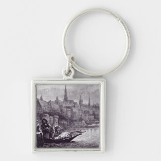 Flight of King James Silver-Colored Square Keychain