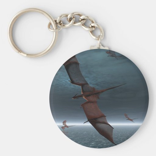 Flight of Red Dragons over the Sea Keychains