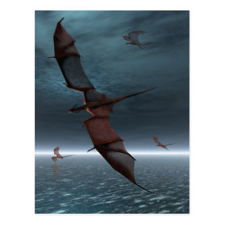 Flight of Red Dragons over the Sea Postcard