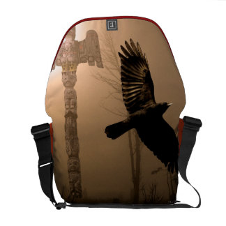 Flight of the Crow Spirit Native American Messenger Bag