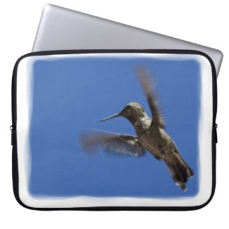 Flight of the Hummingbird White Edge Laptop Computer Sleeve