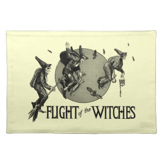 Flight of the Witch Vintage Halloween Illustration Cloth Placemat