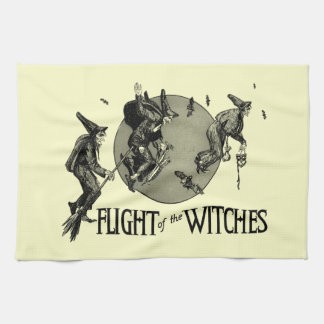Flight of the Witch Vintage Halloween Illustration Towel