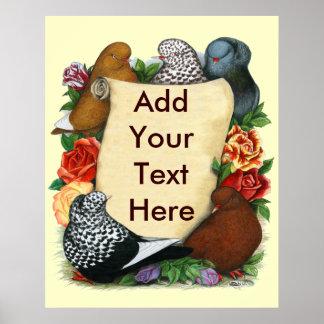 Flight Pigeon Scroll Poster
