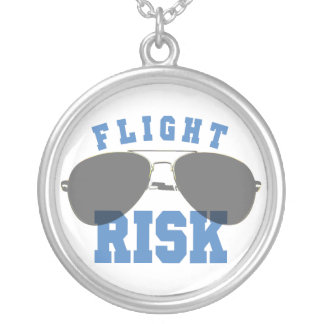 Flight Risk Aviation Glasses Silver Plated Necklace