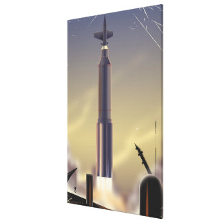 Flight To Mars! vintage sci-fi poster Canvas Print