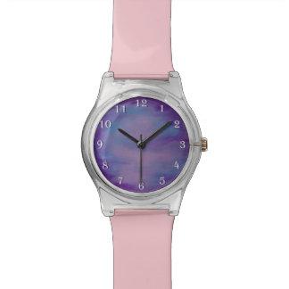 Flighty Purple Pink Blue Pastel Clouds Watches