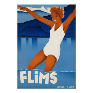 Flims Switzerland Travel Poster
