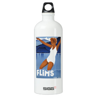 Flims Switzerland Vintage Travel Aluminum Water Bottle