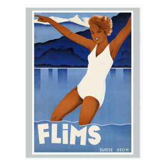 Flims Switzerland Vintage Travel Postcard
