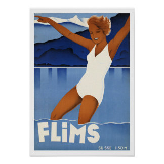 Flims Switzerland ~ Vintage Travel Poster