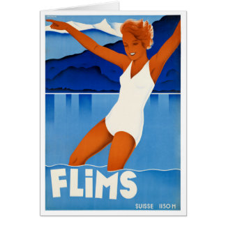 Flims Switzerland Vintage Travel Poster Restored Card