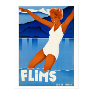Flims Switzerland Vintage Travel Poster Restored Postcard