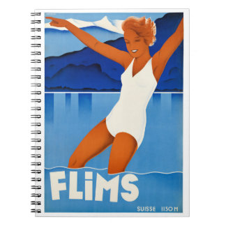 Flims Switzerland Vintage Travel Poster Restored Spiral Notebook