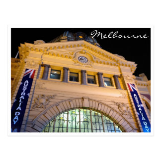 flinders st station oz day night postcard