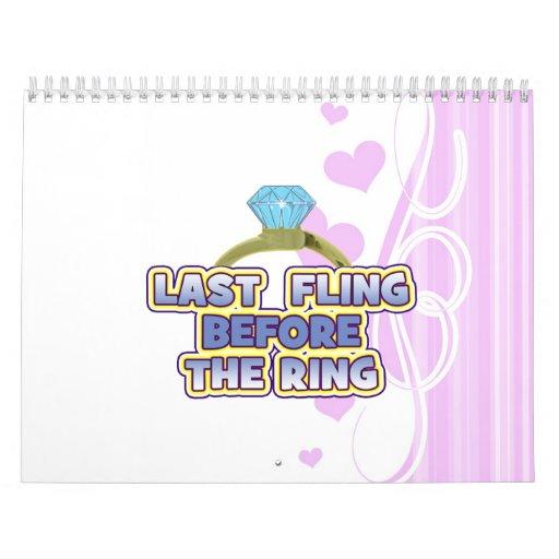 fling ante banquete de boda del bachelorette de la calendarios