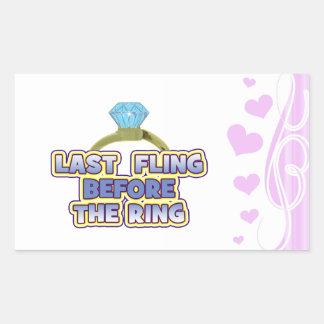 fling before ring bride bachelorette wedding party rectangular sticker