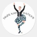 Fling de montaña escocés del bailarín pegatina redonda