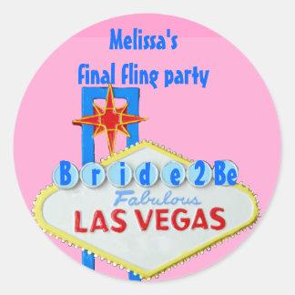 Fling final de Las Vegas para que novia sea Pegatina Redonda