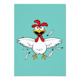 """Fling loco divertido del ala de pollo del dibujo invitación 5"""" x 7"""""""