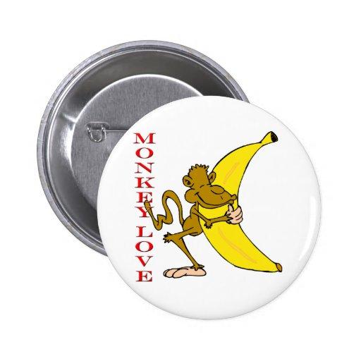 Fling Poo del amor del mono divertido Pin Redondo De 2 Pulgadas