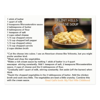 Flint Hills Cheese Soup Recipe Postcard