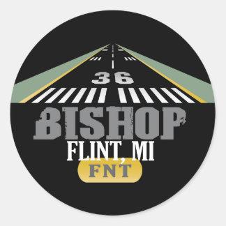 Flint, MI Bishop Airport FNT Airport Runway Classic Round Sticker