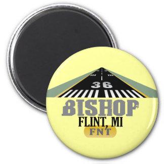 Flint, MI Bishop Airport FNT Airport Runway 2 Inch Round Magnet