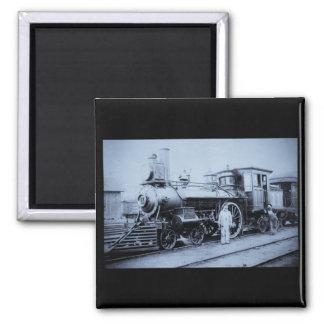 Flint & Pere Marquette Railroad Engine # 11 2 Inch Square Magnet