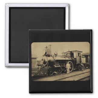 Flint & Pere Marquette Railroad Engine # 11 sepia 2 Inch Square Magnet