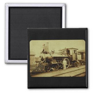 Flint & Pere Marquette Railroad Engine No. 11 2 Inch Square Magnet