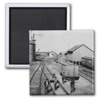 Flint & Pere Marquette Railroad Yard 2 Inch Square Magnet