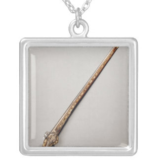 Flintlock rifle silver plated necklace