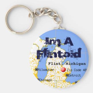 Flintoid Flint Michigan Map Key Chain