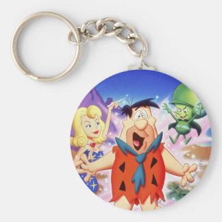 Flintstone de Fred bajo encanto Llavero Redondo Tipo Pin