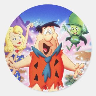 Flintstone de Fred bajo encanto Pegatina Redonda