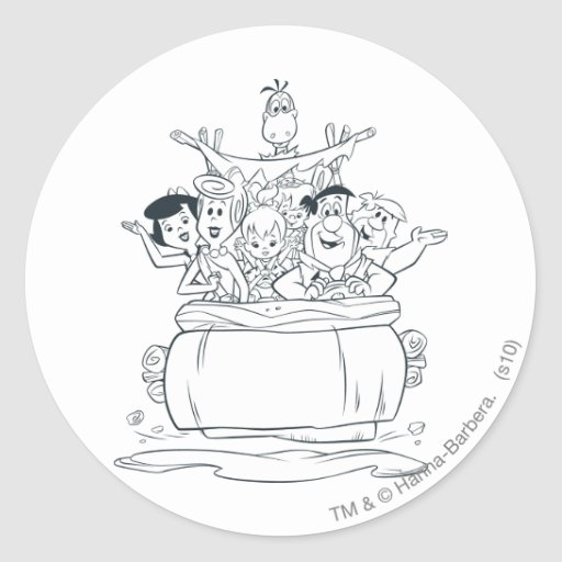 Flintstones Families1 Pegatina Redonda