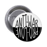 Flip-able Anti-war Pro-Love Pinback Buttons