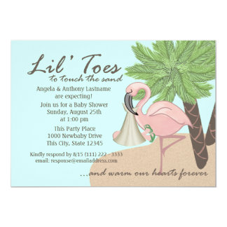 Flip Flop and Flamingo Baby Shower 5x7 Paper Invitation Card