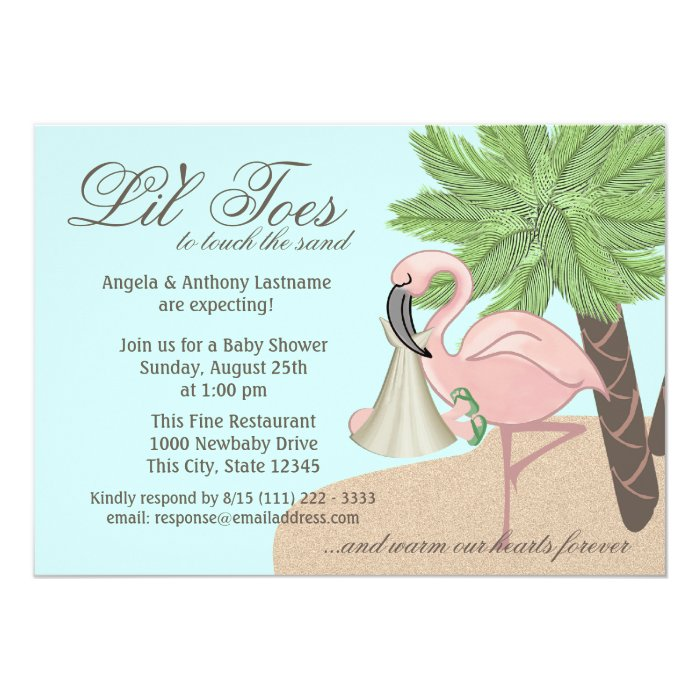 flip flop and flamingo baby shower card | zazzle, Baby shower invitations