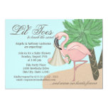 """Flip Flop and Flamingo Baby Shower 5"""" X 7"""" Invitation Card"""