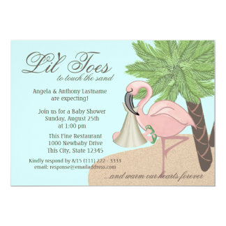 Flip Flop and Flamingo Baby Shower Announcements