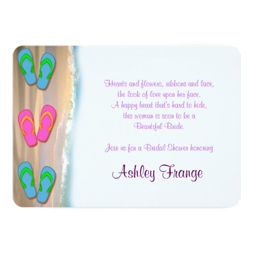 Flip Flop Beach Bridal Shower 5x7 Paper Invitation Card Zazzle